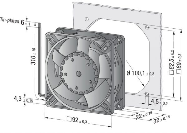 Вентилятор осевой DC,   3312 NH