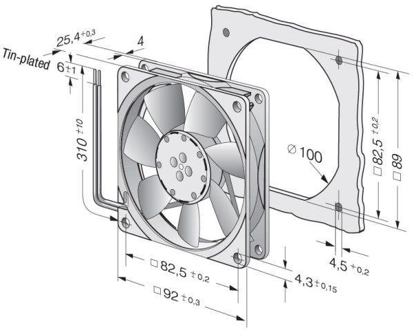 Вентилятор осевой DC,   3414 NHH-386