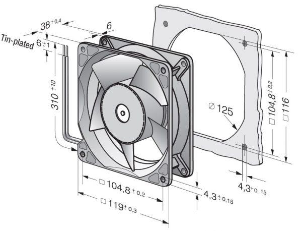 Вентилятор осевой DC,   4114 NH6