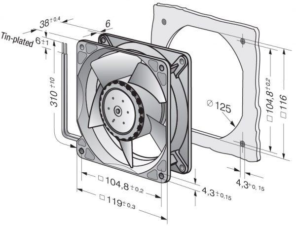 Вентилятор осевой DC,   4118 N/2 H7P
