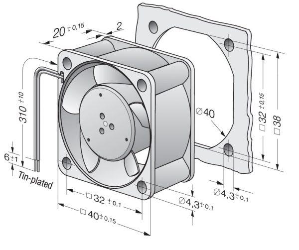 Вентилятор осевой DC,   412-099