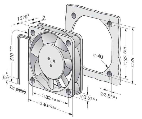 Вентилятор осевой DC,   412 FH