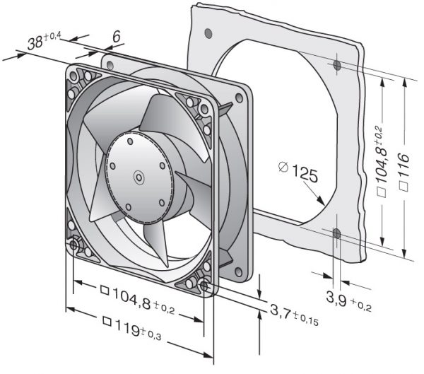 Вентилятор осевой DC,   4184 NGX