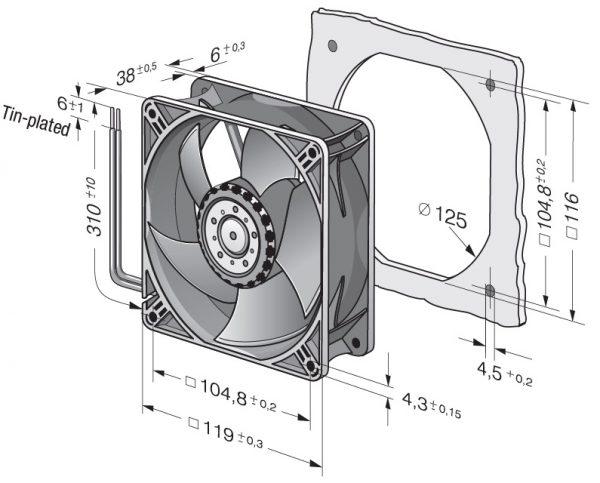 Вентилятор осевой DC,   4412/2 HHP