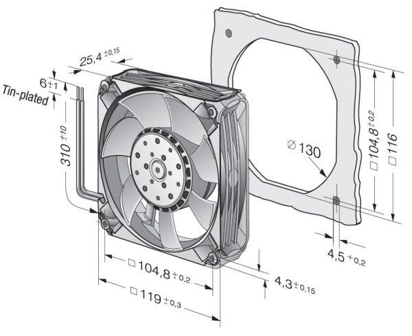 Вентилятор осевой DC,   4412 FNH