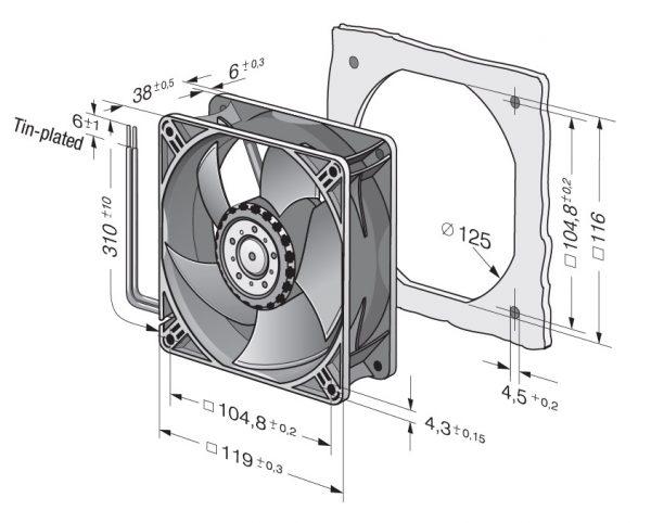 Вентилятор осевой DC,   4414 L
