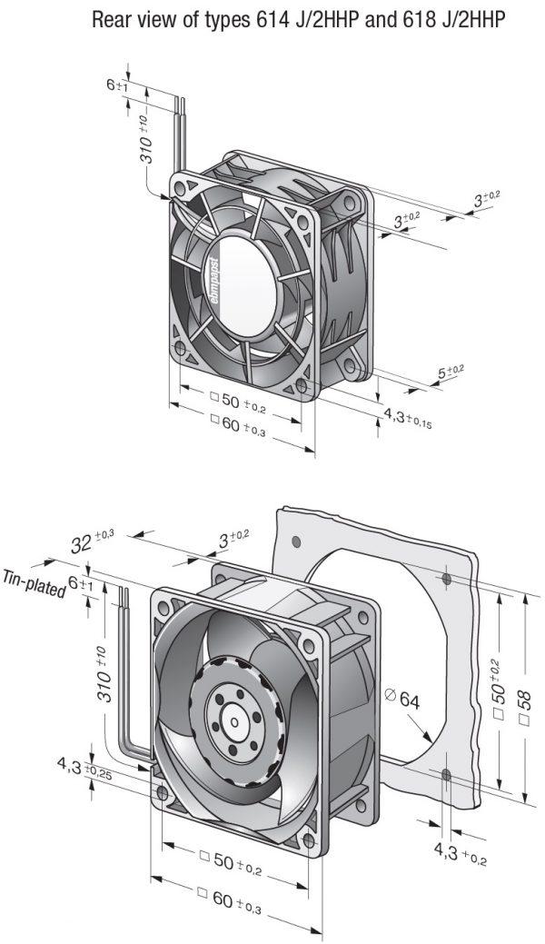 Вентилятор осевой DC,   614 J/2 HHP