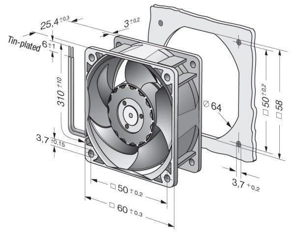 Вентилятор осевой DC,   624 H