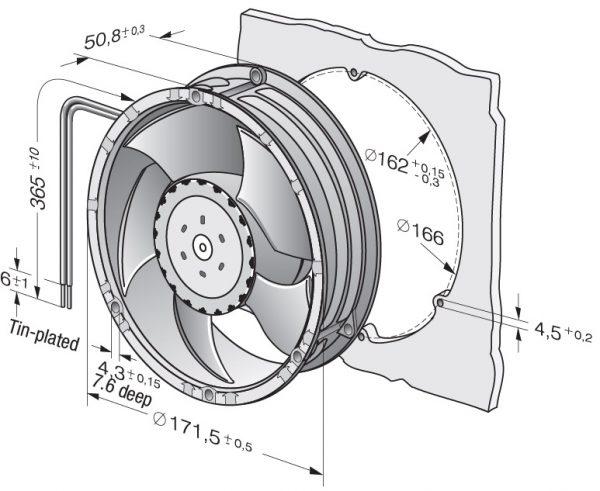 Вентилятор осевой DC,   6314/2 TDH4P