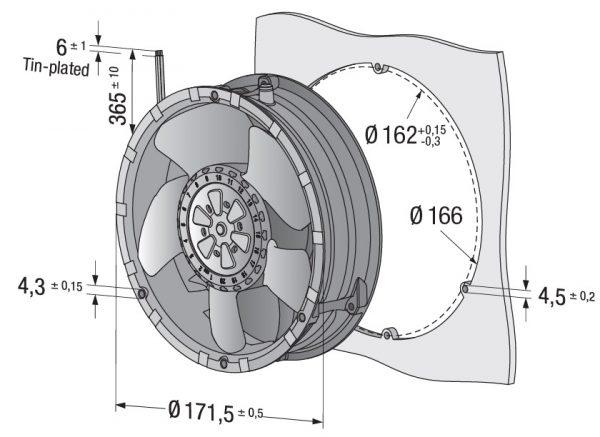 Вентилятор осевой DC,   6318 N/2 H3P