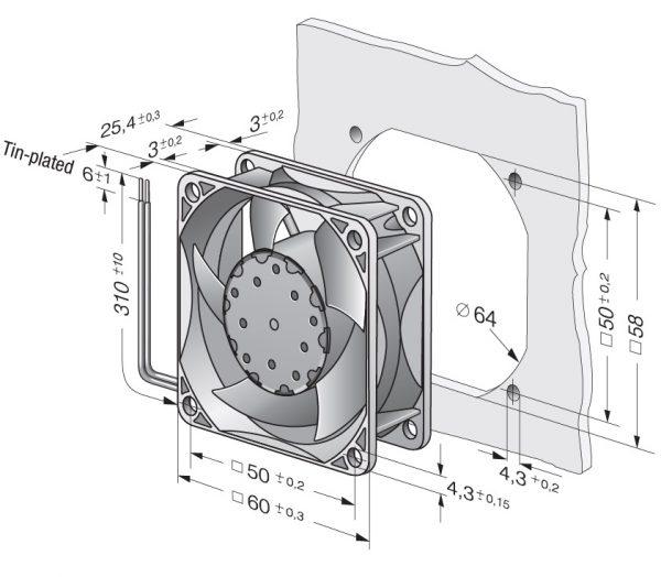 Вентилятор осевой DC,   632 NU