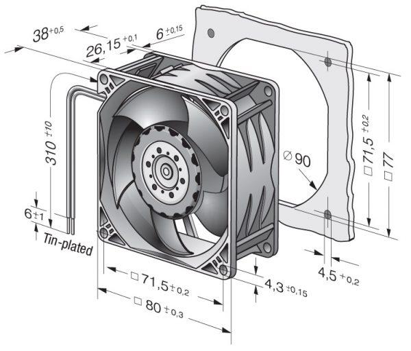 Вентилятор осевой DC,   8214 JN