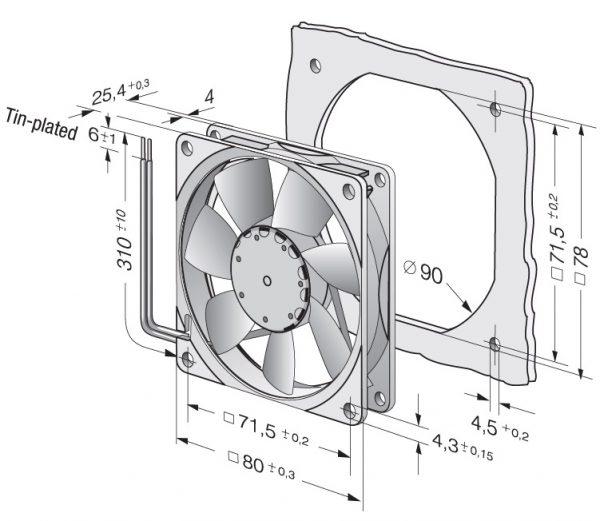 Вентилятор осевой DC,   8412 NGME