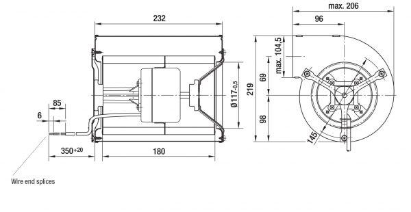 Вентилятор центробежный DC, D1G 146-AA33 -52