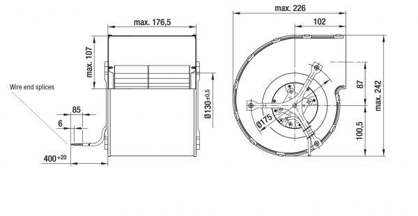Вентилятор центробежный DC, D1G 160-DA19 -52