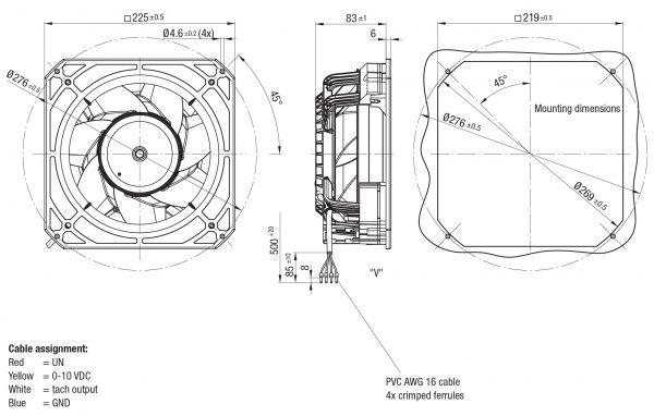 Вентилятор осевой DC,   K3G 200-BD64-04