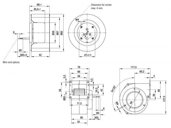 Вентилятор центробежный DC, R1G 085-AB05 -01