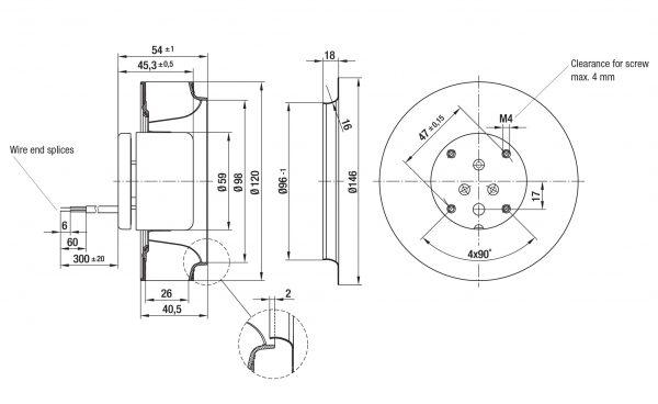 Вентилятор центробежный DC, R1G 120-AD11 -02