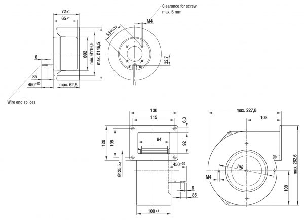 Вентилятор центробежный DC, R1G 146-AA11 -52