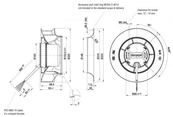 Вентилятор центробежный DC, R3G 225-RN28 -01