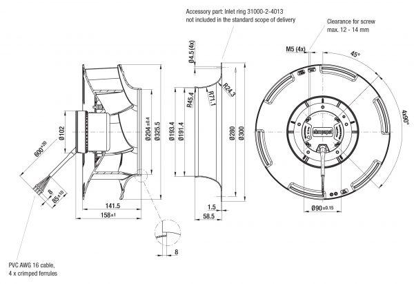 Вентилятор центробежный DC, R3G 310-RN99 -01