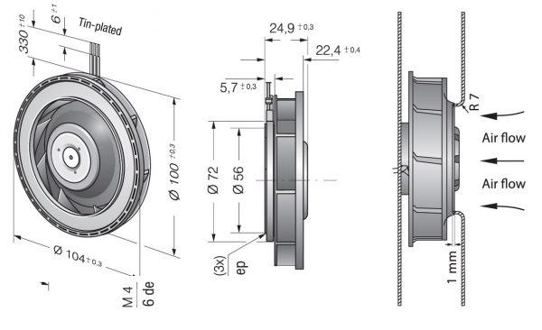 Вентилятор центробежный DC, RER 101-36/12 NH