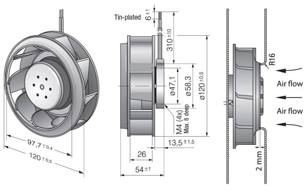 Вентилятор центробежный DC, RER 120-26/14/2 TDMP