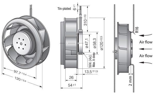 Вентилятор центробежный DC, RER 120-26/18/2 TDMP