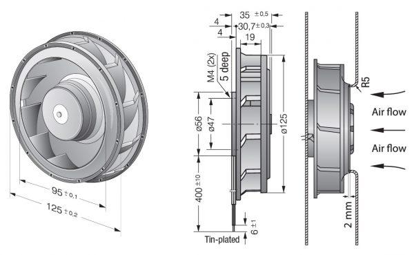 Вентилятор центробежный DC, RER 125-19/14 NH