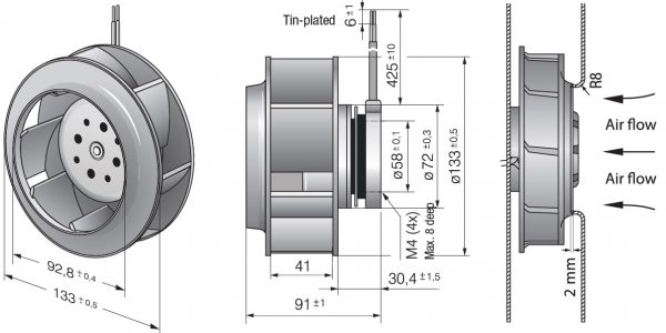 Вентилятор центробежный DC, RER 133-41/14/2 TDP