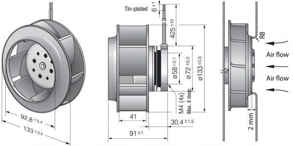 Вентилятор центробежный DC, RER 133-41/18/2 TDP
