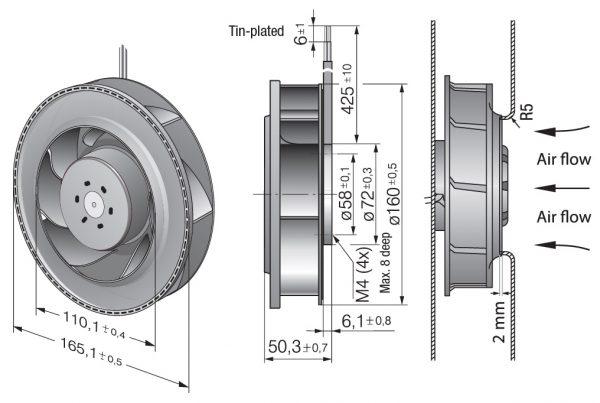 Вентилятор центробежный DC, RER 160-28/14 NTD