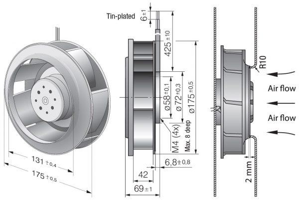Вентилятор центробежный DC, RER 175-42/14/2 TDMP