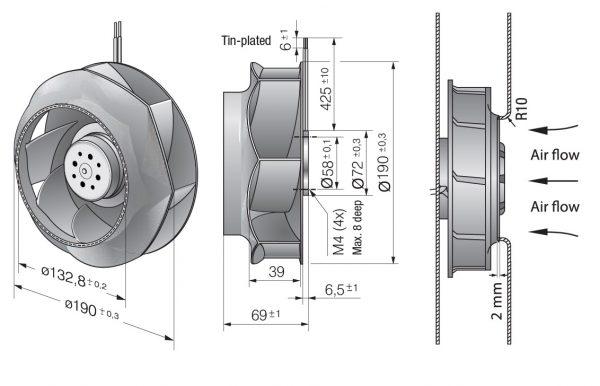 Вентилятор центробежный DC, RER 190-39/18/2 TDMLO