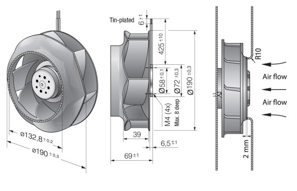 Вентилятор центробежный DC, RER 190-39/18/2 TDO