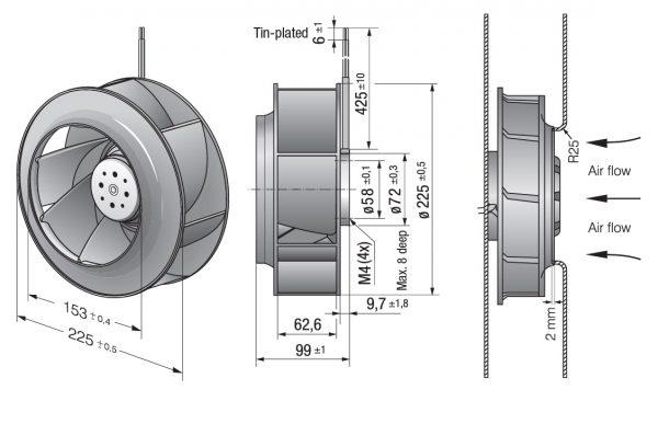 Вентилятор центробежный DC, RER 225-63/18/2 TDMO