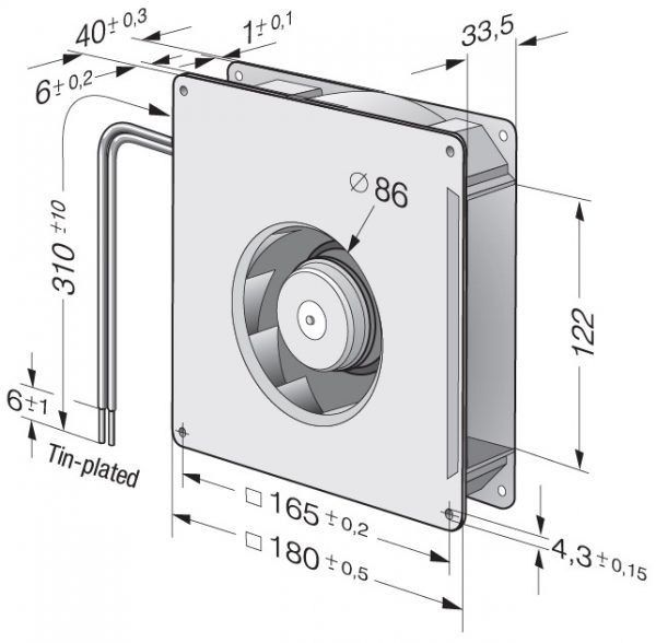 Вентилятор центробежный DC, RG 125-19/12 NM