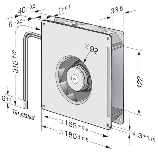Вентилятор центробежный DC, RG 140-22/14 N/2 TDPU