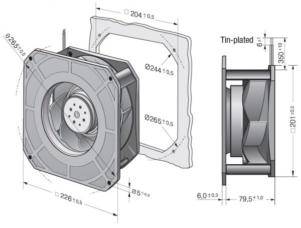 Вентилятор центробежный DC, RG 190-39/18/2 TDMO