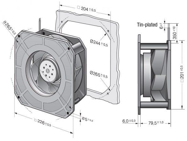 Вентилятор центробежный DC, RG 190-39/18/2 TDO
