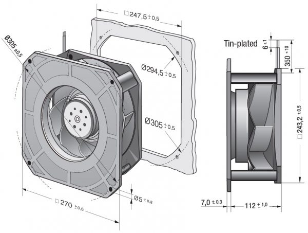 Вентилятор центробежный DC, RG 225-55/14/2 TDMLO
