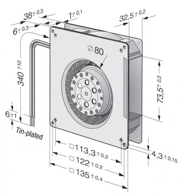 Вентилятор центробежный AC, RG 90-18/00