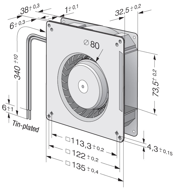 Вентилятор центробежный DC, RG 90-18/14 N
