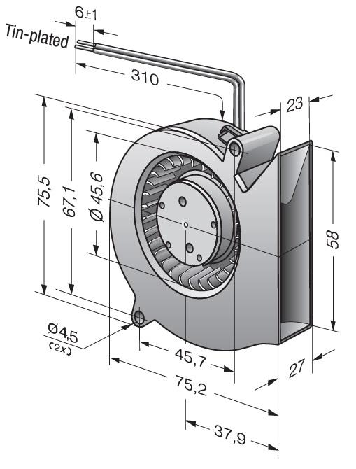 Вентилятор центробежный DC, RL 48-19/12