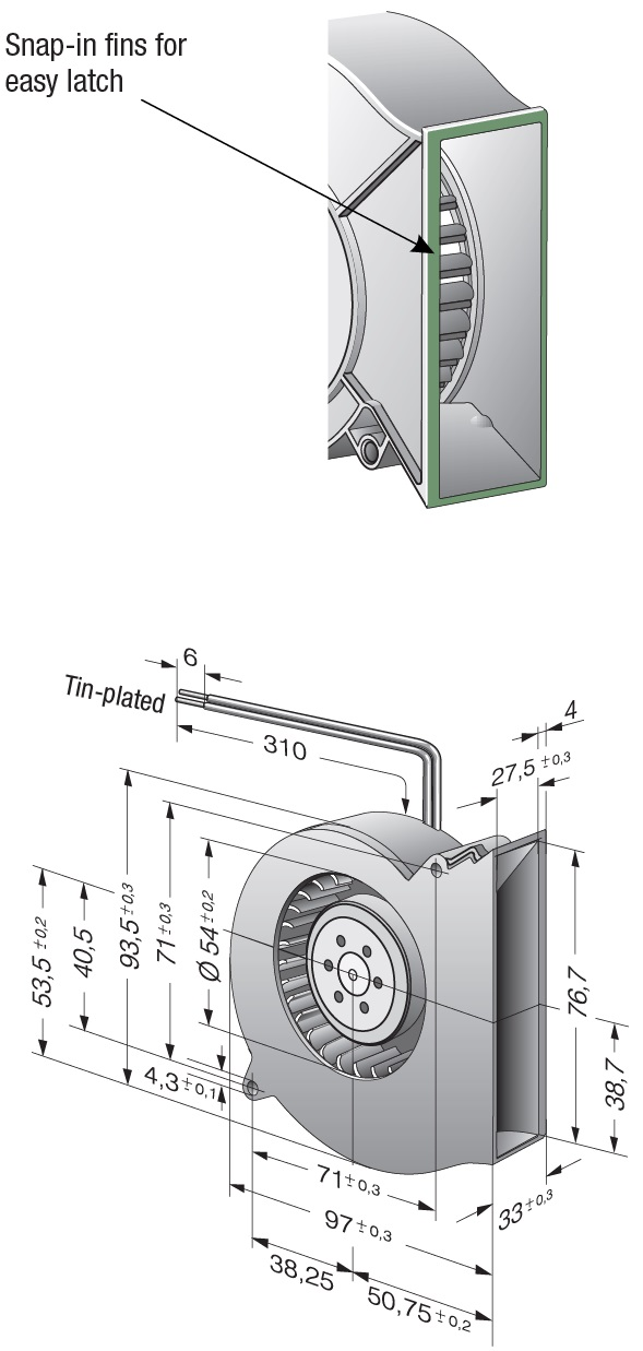 Вентилятор центробежный DC, RL 65-21/12 H