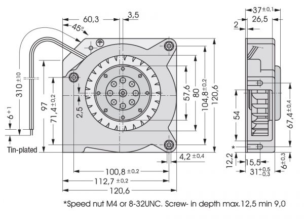 Вентилятор центробежный AC, RL 90-18/06