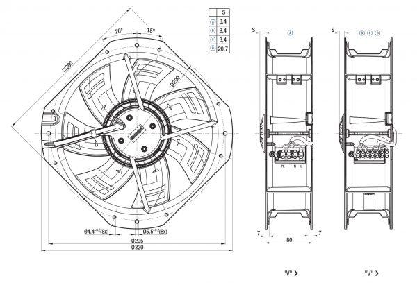 Вентилятор ACmaxx / EC, W3G 250 -HH07 -01