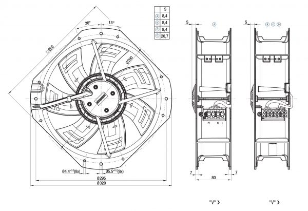 Вентилятор ACmaxx / EC, W3G 250 -HH07 -03